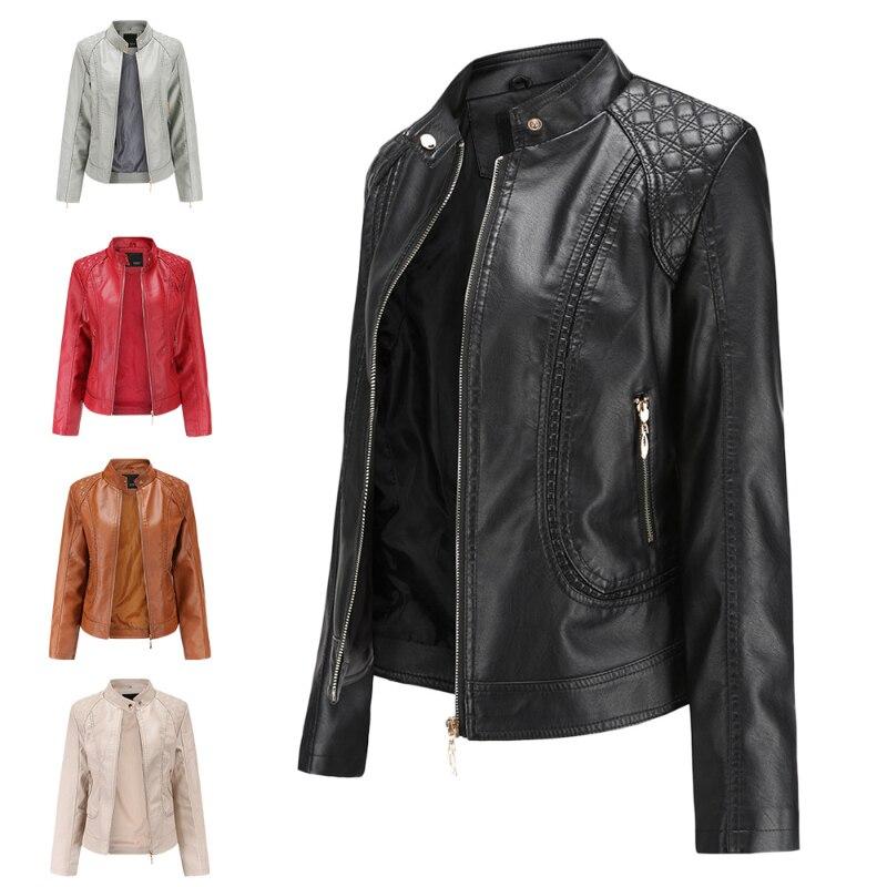 Новинка 2021, Демисезонная женская кожаная куртка, яркая женская кожаная куртка из искусственной кожи с воротником-стойкой, женская кожаная к...