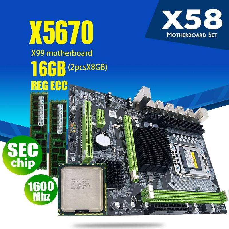 atermiter X58 motherboard LGA1366 combos X5670 CPU 2pcs x 8GB = 16GB DDR3 RAM 1600Mhz PC3 12800R RAM
