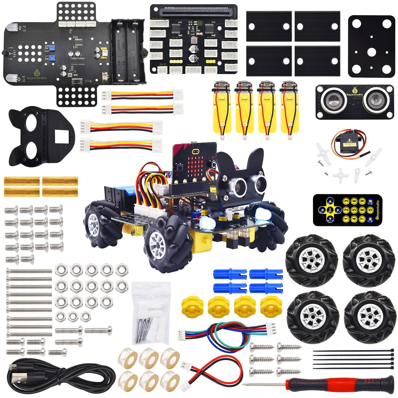 Keyestudio Mecanum Wheel Robot Car Micro:bit Diy Kit Support APP Control and Make Code program(No Micro Bit Board)