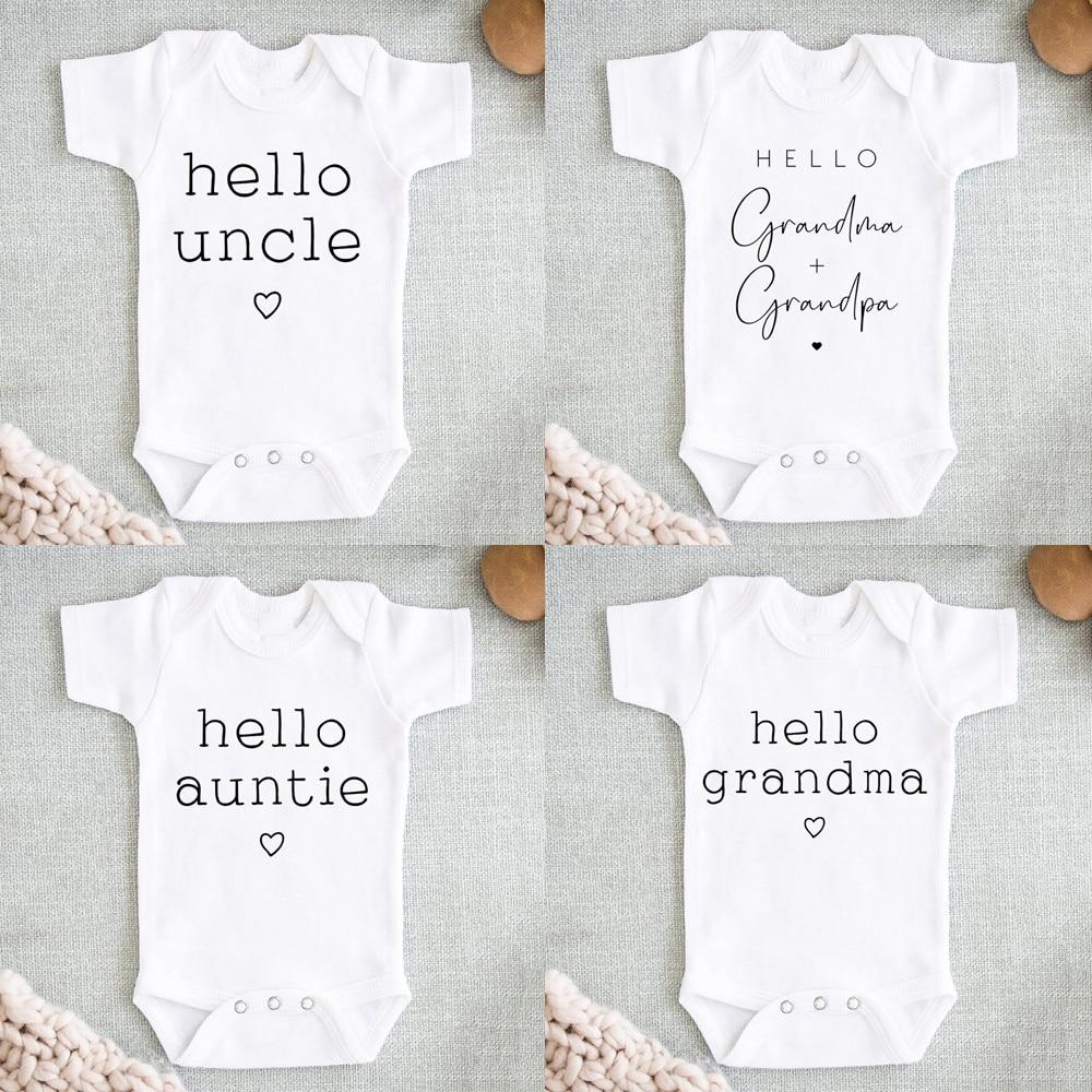 Hello Uncle/auntie Baby Pregnancy Anouncement Bodysuit Summer Short Sleeve Jumpsuits Baby Boys Girls