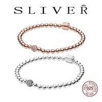 2021 new 925 silver rose gold fashion snake chain basic strings beads pav%c3%a9 bracelet for women diy making jewelry gift
