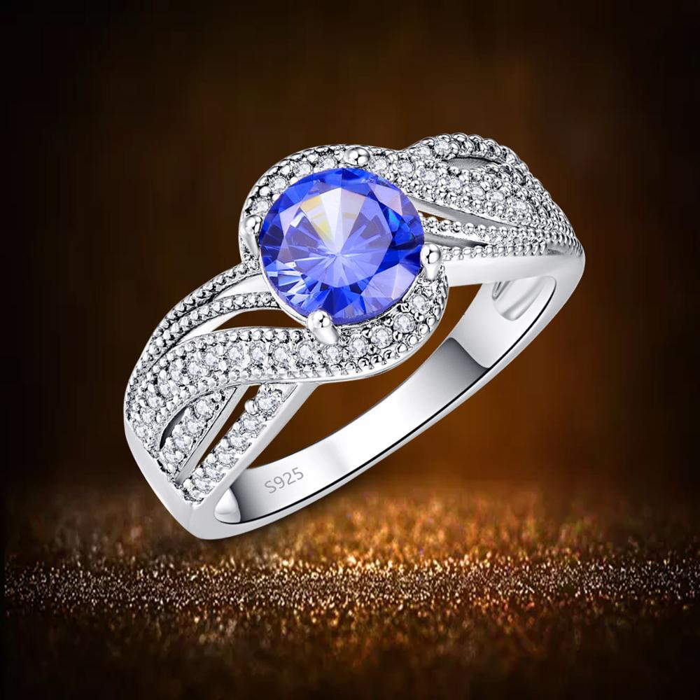 J.C Round Cut White Topaz & Tanzanite 925 Sterling Silver Ring Size 6 7 8 9 Women Blue Wedding Unisex Jewelry Gift