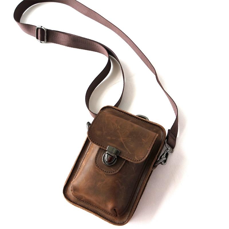 Waist Pack Men's Genuine Leather Bag Travel Purse Waterproof Belt Zipper Tactical Outdoor Sport Multifunction Pack Phone Pocket