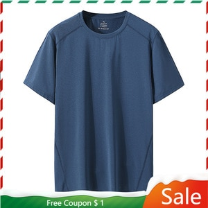 Quick Dry Sport T Shirt Men 2021 Short Sleeves Summer Casual Mesh Cotton Plus OverSize 6XL 7XL 8XL Top Tees GYM Tshirt Clothes