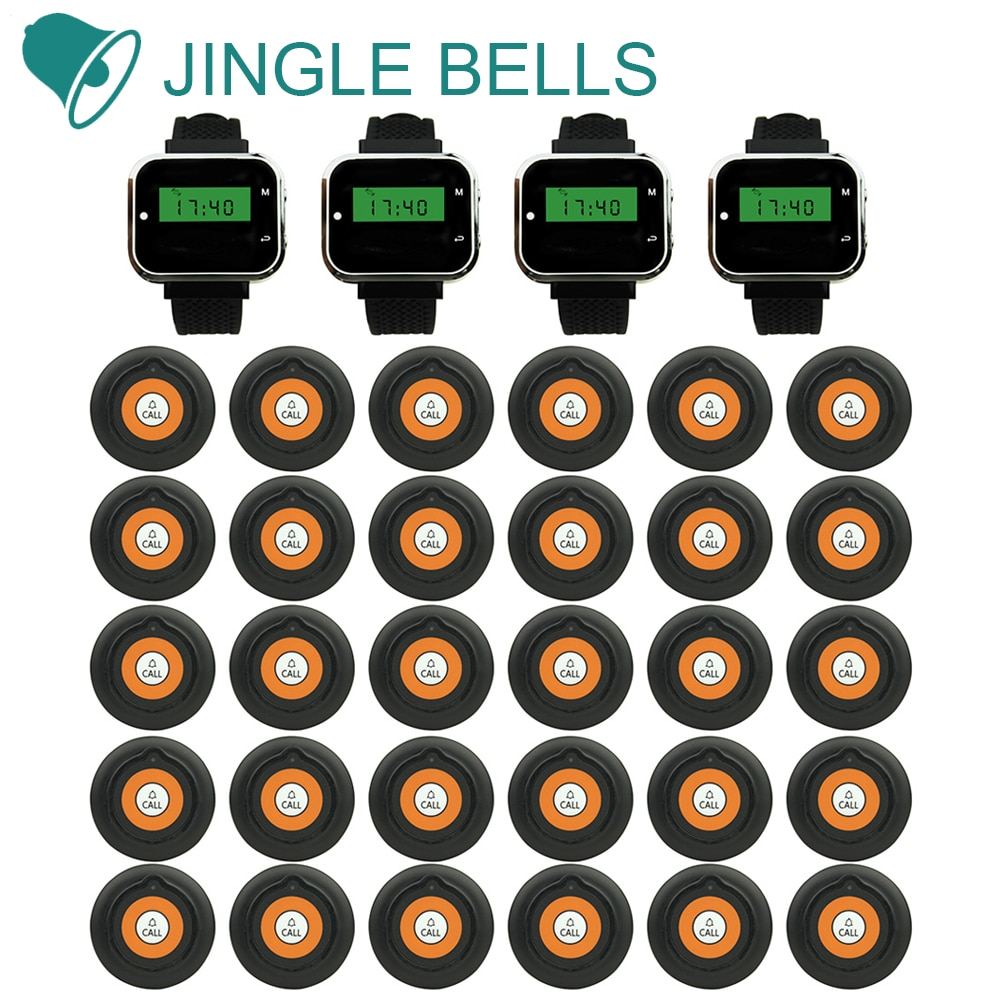JINGLE BELLS Wireless Restaurant Calling Systems 30 Transmitters 4 Watch Pager Guest Waiter Call Buttons Table Buzzers