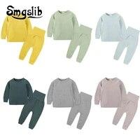 children sleepwear candy colors spring autumn boys girls pajamas cotton sleepwear kids thermal underwear pajamas for children