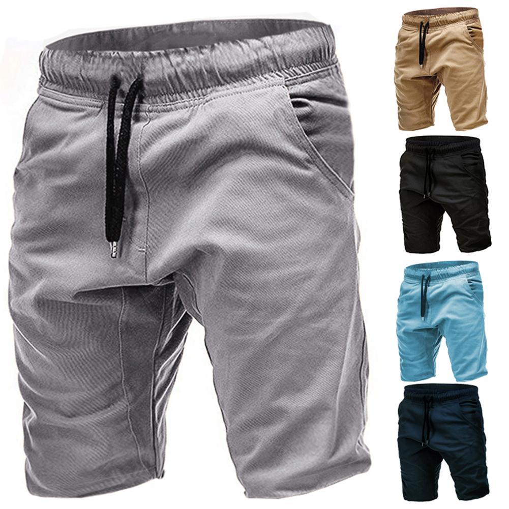 Solid Color Shorts Men Casual Summer Breathable Joggers Drawstring Fifth Pants Mens short homme