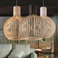 Livraison Directe Moderne Noir En Bois Cage A Oiseaux E27 ampoule lumiere Pendante nordique deco maison en bambou en bois Pendentif lampe