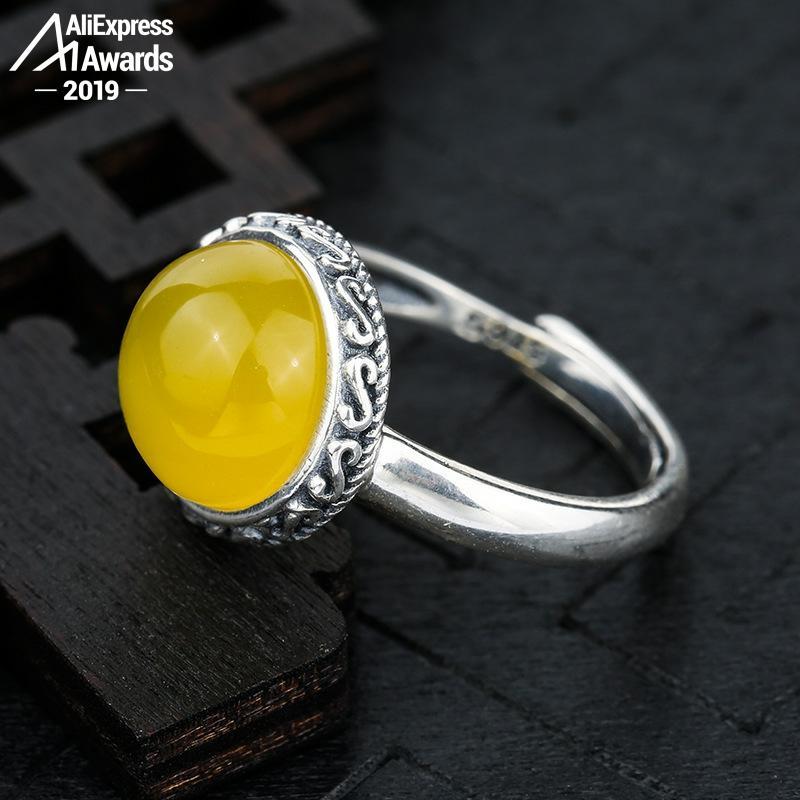 Oh mi Dios tan hermoso 6,18 venta S925 plata esterlina Ucrania ámbar anillos exagerados salud rico Lituania Retro hecho a mano