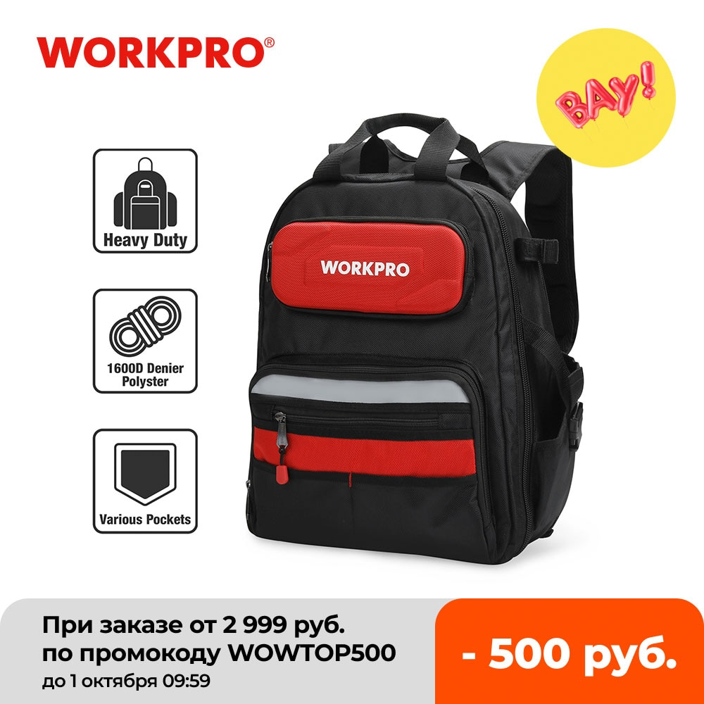 WORKPRO-حقيبة ظهر متعددة الوظائف للرجال ، أداة ، حقيبة منظم ، مقاومة للماء ، 60 جيب ، 17 بوصة ، 2021