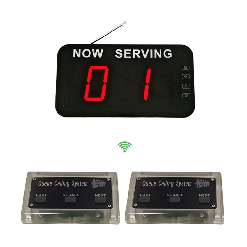 Electronic Queue Manage System wireless Improve Work Efficiency with 1 Screen 2 buttons