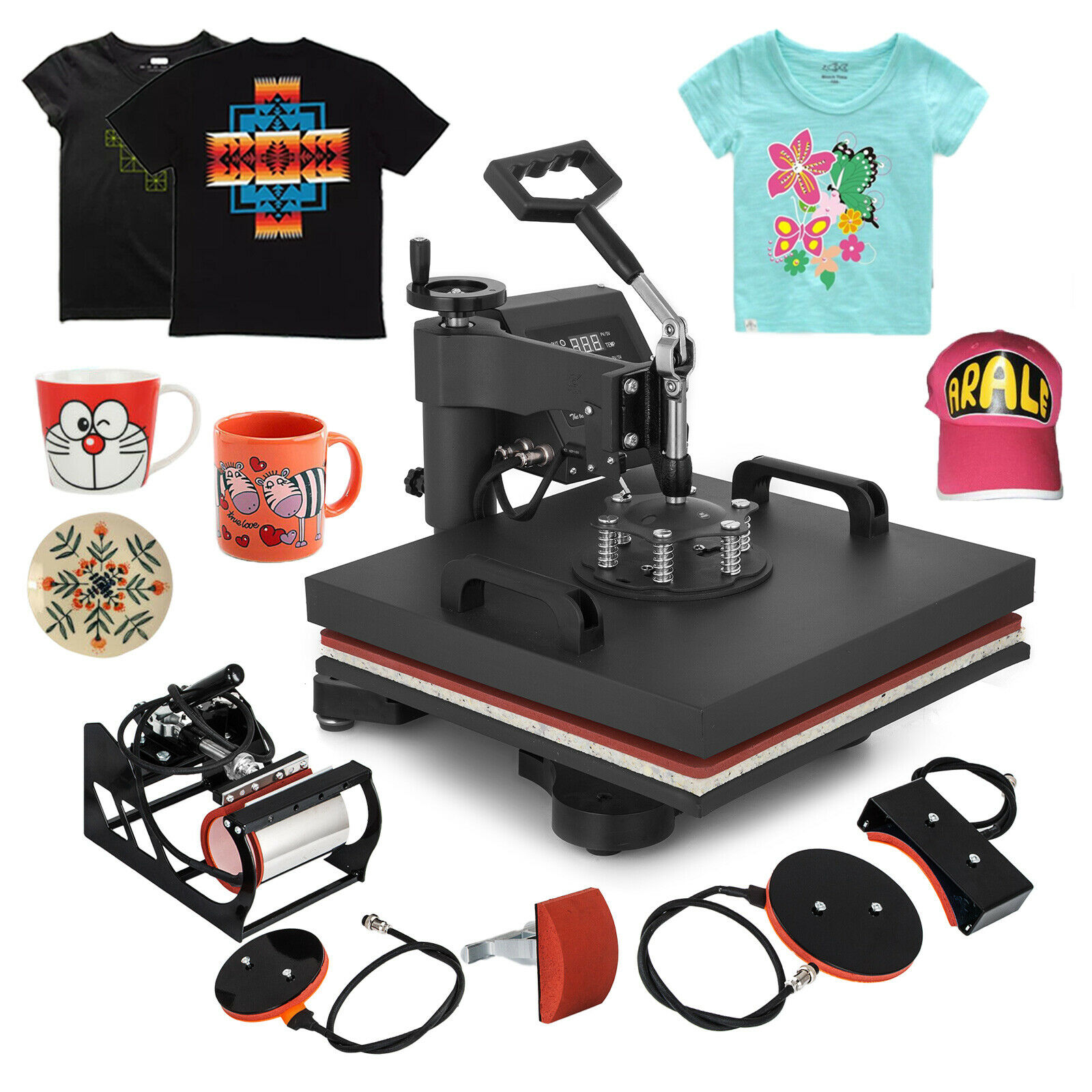 Prensa de calor de 15 pulgadas x 15 pulgadas, máquina de camisetas Combo 5 en 1, impresora Digital DIY Clamshell