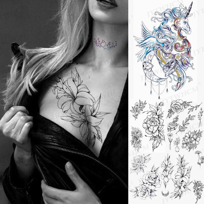Водостойкие цветные тату-наклейки, Временные татуировки, рукава, грудь, милая искусственная татуировка для боди, Переводные татуировки, укр...