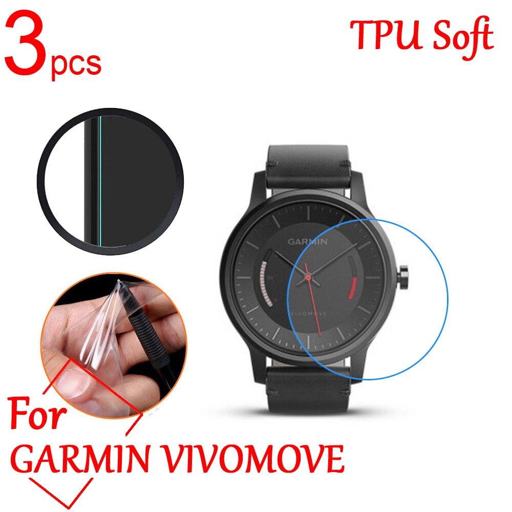 3 sztuk Ultra przejrzysty TPU miękkie LCD pełne ekrany ochronne pokrywa dla GARMIN VIVOMOVE HR/LUXE (42MM) smartwatch GPS folia ochronna