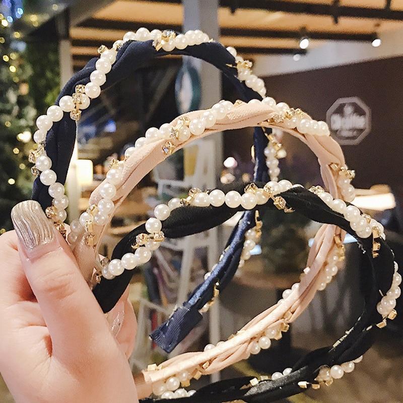 Mujer imitación perla banda para el cabello niñas moda accesorios para el cabello mujeres diadema boda cumpleaños fiesta nupcial pelo aro cabeza desgaste