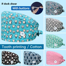 Unisex scrubs caps Adjustable cotton tooth printing hats High Quality adjustable sweat-absorbent Ela