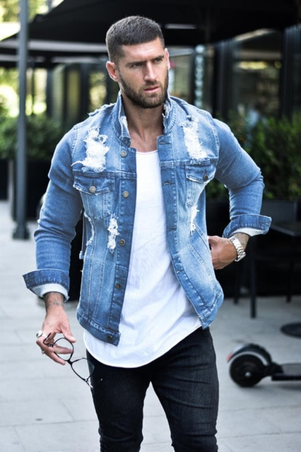 Jeans Jakcet Coat Men Blue Black Denim Jackets Male 2021 Spring Autumn Men Clothing Streetwear Casual Slim Fit Jean Coat 8