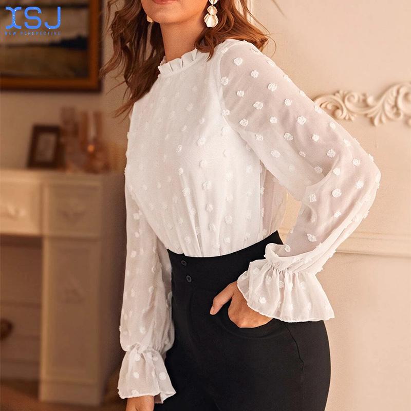 blouse trueprodigy blouse Autumn New Style Elegant Casual Blouse Women Chiffon Thin Blouse Round Neck Long-Sleeved Loose Flower Blouse