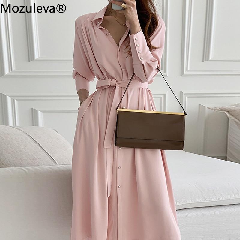 Mozuleva حريمي أنيقة أنيقة على الطراز الكوري موضة مكتب سيدة 2021 الصيف غير الرسمي بحزام Vestidos السيدات رداء فام
