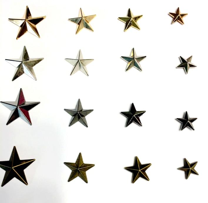 100sets remaches de Metal/11/15/18/20/22/29/40/45mm metal de aleación de zinc remaches estrella remaches de Pantalones vaqueros de bronce/níquel/Negro/oro ZD-037