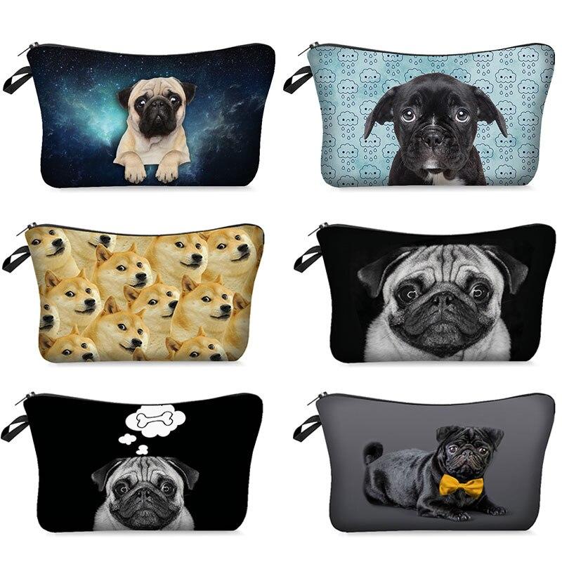 Косметички с 3D рисунком собаки, милые косметички с рисунком собаки для макияжа, органайзер, Несессер для женщин, миниатюрная дамская сумочк...