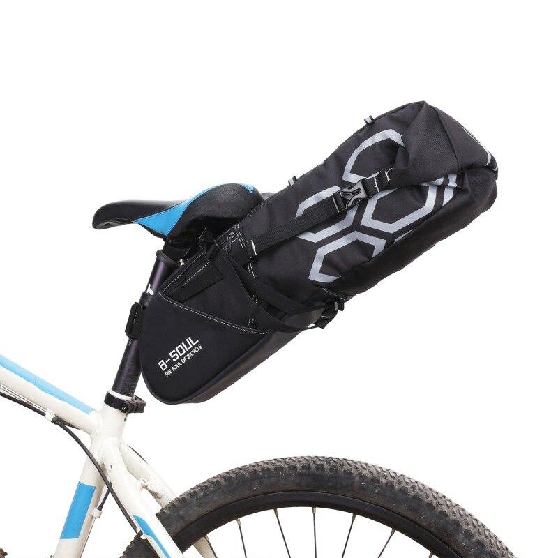 Exterior andar en bicicleta bolsa de sillín de poliéster impermeable 12L de gran capacidad asiento trasero bolsa equipo de equitación