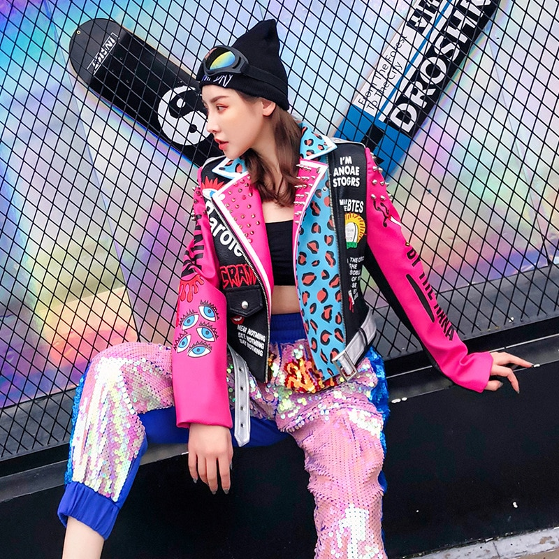 Autumn and winter new Thai tide heavy industry rivet leopard graffiti print shoulder and slim fitting motorcycle enlarge