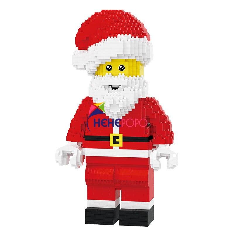 مكعبات بناء الثلج الماسية ، 1910 قطعة ، شخصيات سانتا كلوز ، مكعبات البناء ، DIY ، تجميع هدايا الكريسماس ، لعبة أطفال