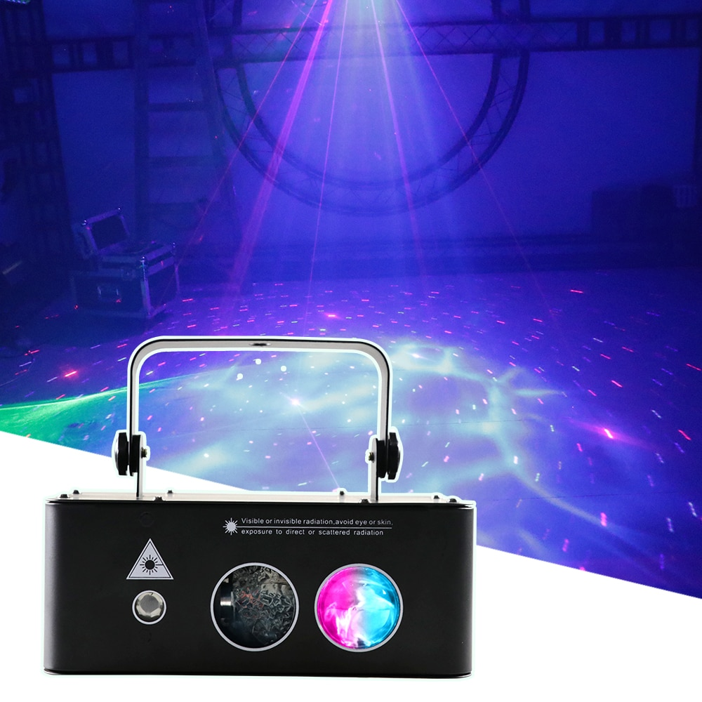 Pattern Beam Light RGB 3IN1 Stage Light DMX512 Voice Control Music Led Disco Light Party Show Laser Projector Lights Effect Lamp