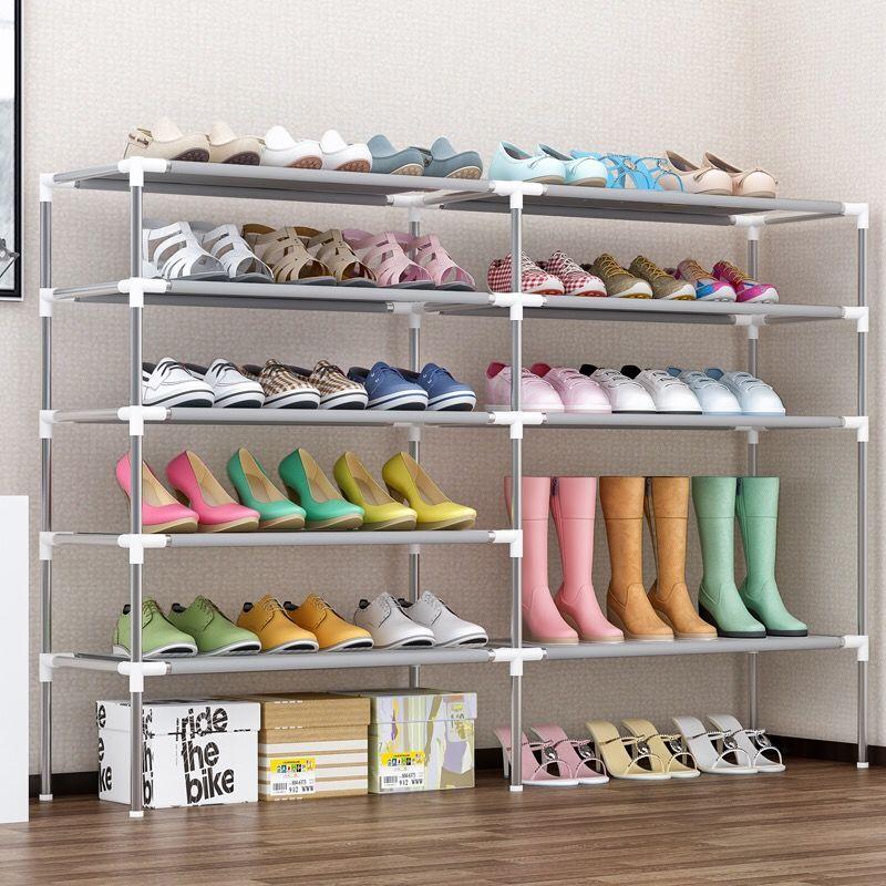 خزانة أحذية بخمسة صفوف ، خزانة أحذية متعددة المستويات ، بسيطة ، فن حديد منزلي ، سعة كبيرة ، عنبر صغير ضيق