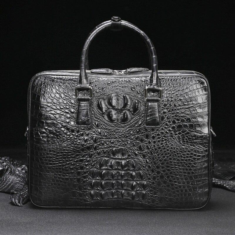 2021 crocodile briefcase men's leather leisure business one shoulder messenger laptop bag zipper large capacity computer handbag