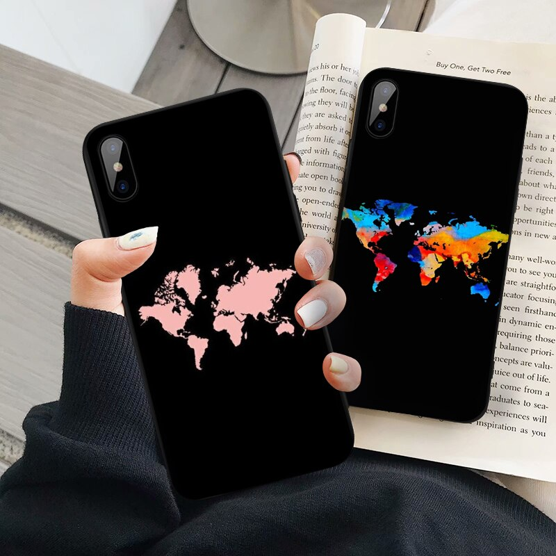 Funda de teléfono mapamundi para Huawei P30 P20 P10 Pro Lite Plus, funda de TPU de silicona blanda para viaje, Just Go Coque