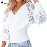 plus size women casual shirt long sleeve blouse hollow out patchwork lace tops fashion 2021 autumn loose shirt female clothing