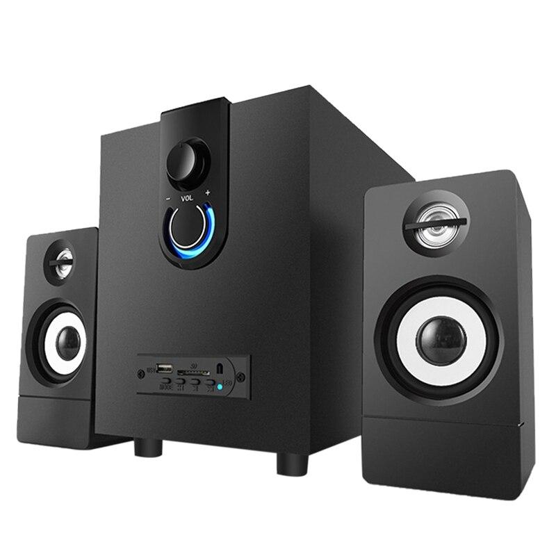 Sistema de Alto-falante Madeira Multimídia Super Subwoofer Bluetooth Áudio Usb Power Notebook Alto-falante 2.1