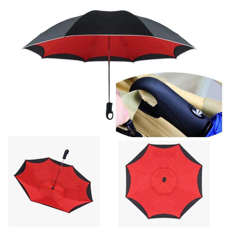 Paraguas automático doble capa a prueba de viento paraguas de negocios plegable reverso lluvia mujeres hombres coche automático paraguas reverso hombres