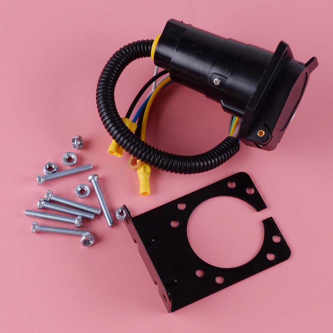 DWCX MIC-AP-210C 4-Way Flach zu 7 Weg Runde RV Klinge Verdrahtung Adapter Trailer Hitch Stecker mit Halterung Zubehör