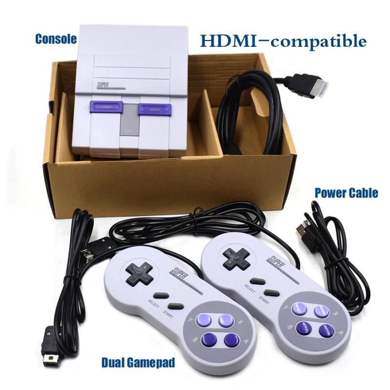 Супер HD выход для ретро-классических портативных видеоигр SNES HDMI-совместимая ТВ мини игровая консоль со встроенными 21 играми