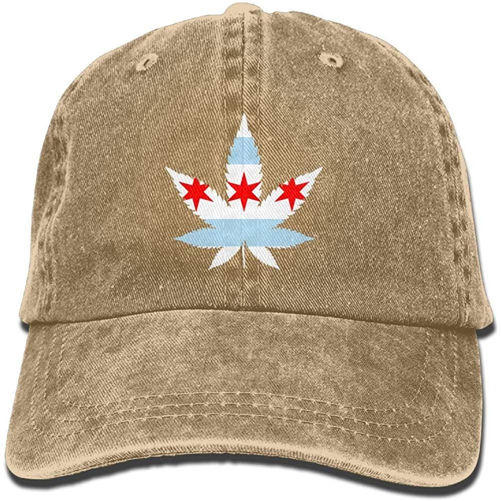 YELOFISH, gorra de béisbol para adultos Weed, Bandera de Chicago, de algodón, vaquera, gorra ajustable