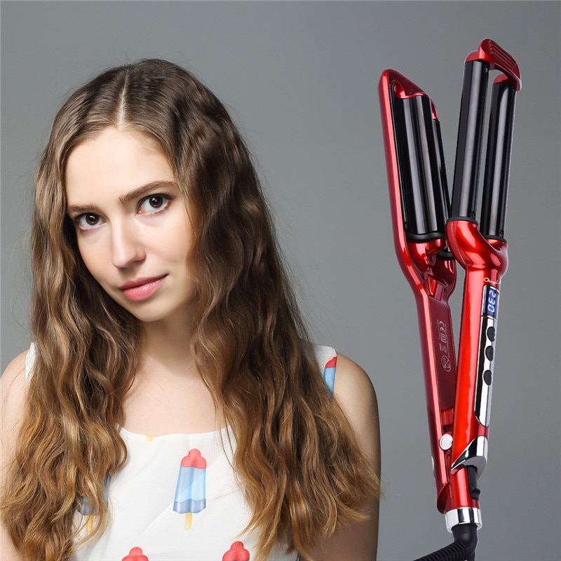 Triple Barrel LCD Digital Hair Curler Ceramic Curling Iron Hair Wavy Tool 3 Barrels Deep Waver Curling Wand Styling Tools