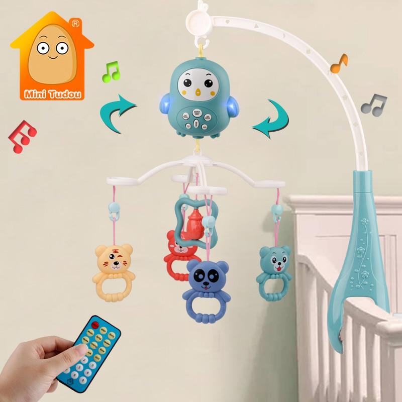 Мобиль с погремушками для детской кроватки, музыкальные развивающие игрушки карусель для детской люльки 0-12 месяцев, игрушка для новорожден...