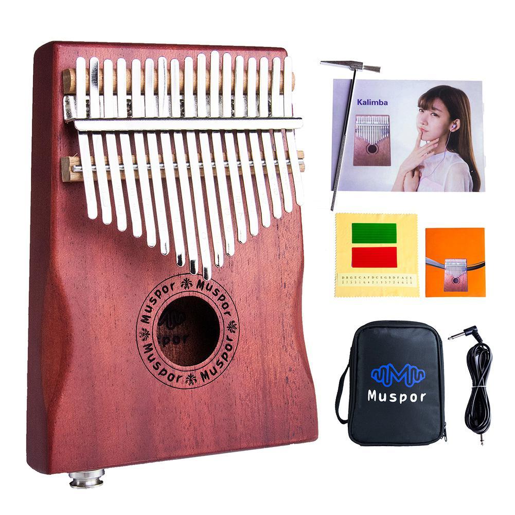 Top selling 17-Key EQ Kalimba Mahogany Professional Electric Finger Thumb Piano kalimba With Bag and Audio Cable