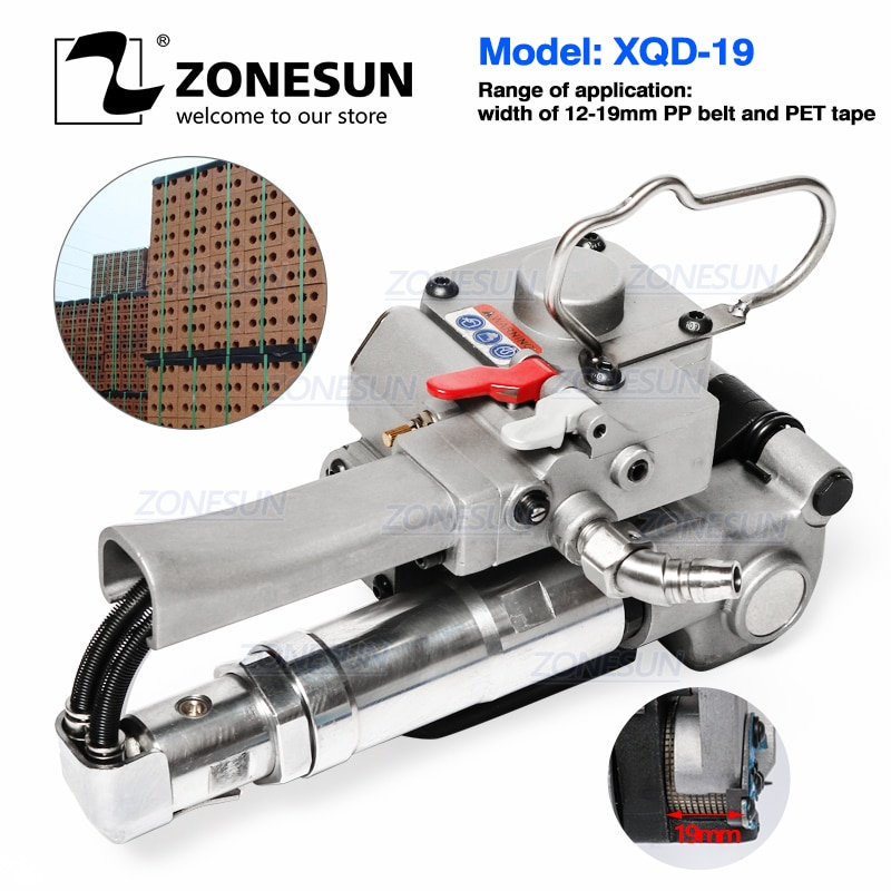 ZONESUN Handheld XQD-19 Pneumatic Portable Strapping Tool PP PET Pallet Belt Band Tensioner and Sealer Box Carton Machine