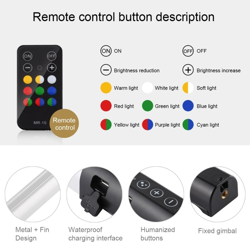 RGB Colorful Photo LED Video Light Stick Pocket Adjustable Color Temperature Handheld LED Fill Light With Remote Control enlarge