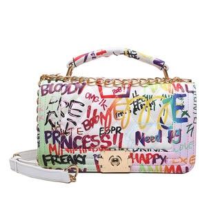 Граффити сумка с цепочкой для женщин 2021 роскошные женские сумки дизайнерские сумки через плечо модные брендовые яркие сумки через плечо Sac основная Femme