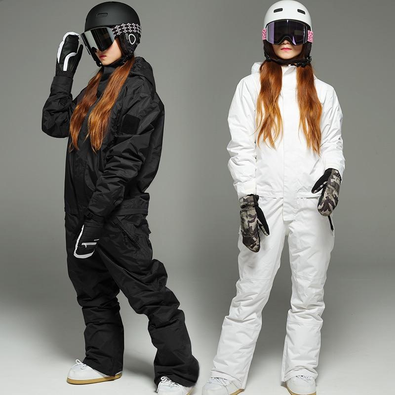 Взрослый цельный лыжный костюм, белый мужской и женский мужской однослойный анорак с двойной пластиной, водонепроницаемый дышащий комбине...