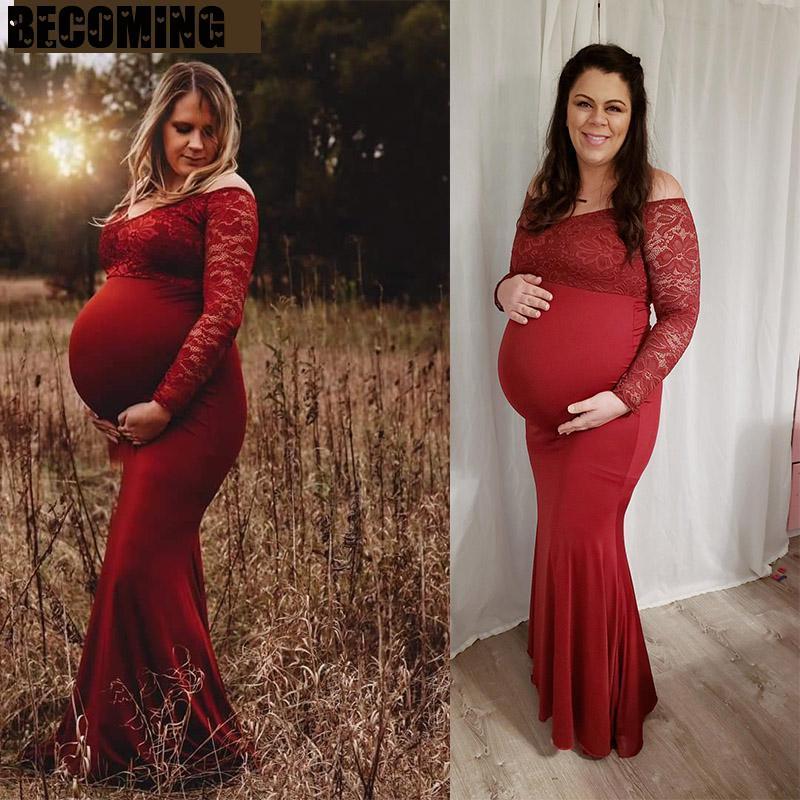 Maternity Dress For Photo Shoot Pregnant Long Sleeve Off Shoulder Lace Long Dress Gown Stretchy Maxi Photography Dress Pregnency enlarge