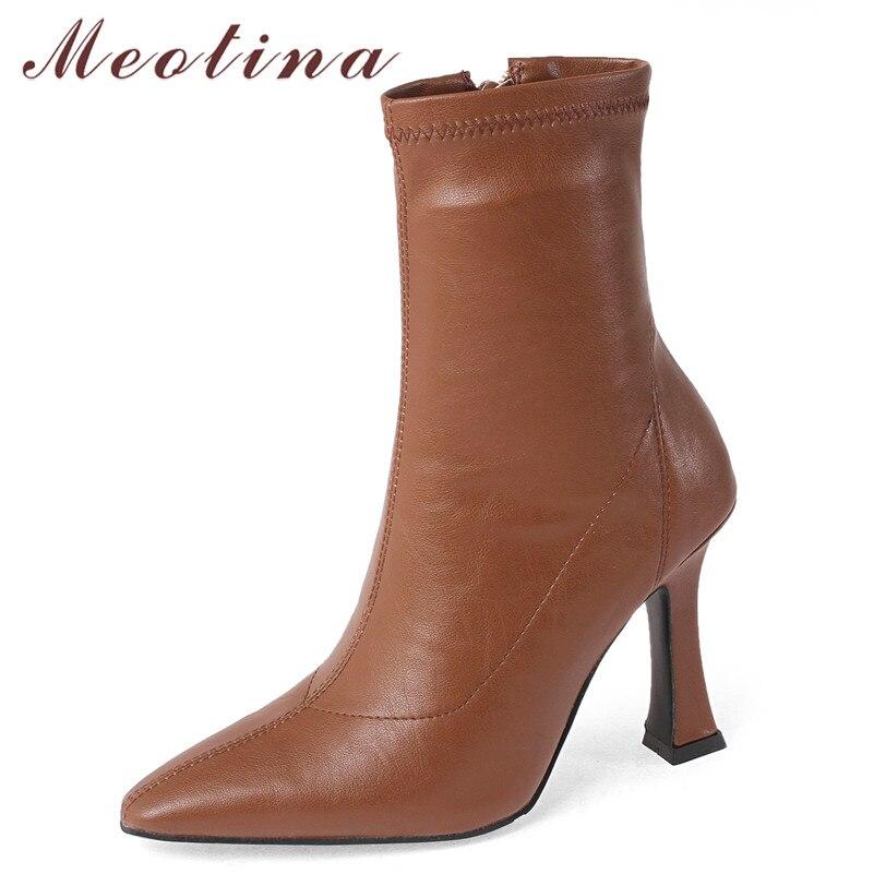 Meotina, botines para mujer, zapatos de punta estrecha, tacones finos, botas para mujer con cremallera extrema, tacón alto, botas elásticas, Otoño Invierno negro 43
