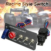 carbon fiber car accessories led toggle switch for racing car engine start push button 12v led ignition switch panel