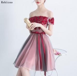 Brilliant Multi-Colored  Dresses  Fast Shipping Boat-Neck Tulle Appliques Prom Party Dress Short Sexy Retro Dresses