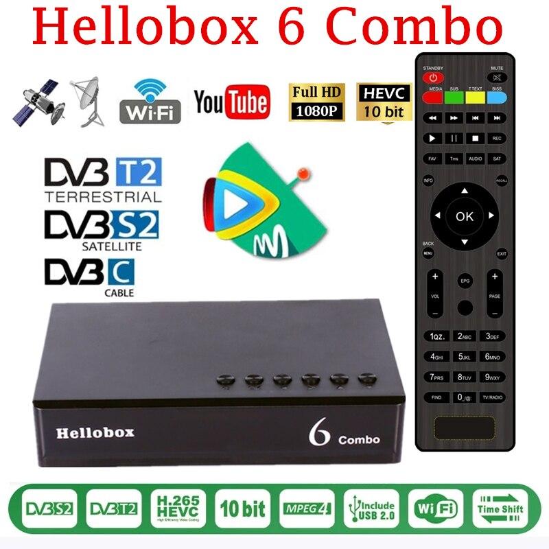 Hellobox 6 كومبو استقبال الأقمار الصناعية H.265 DVB S2X DVB-T2 DVB-C دعم Cline Newcamd احتيال + السيارات Biss السيارات Powervu مجموعة صندوق